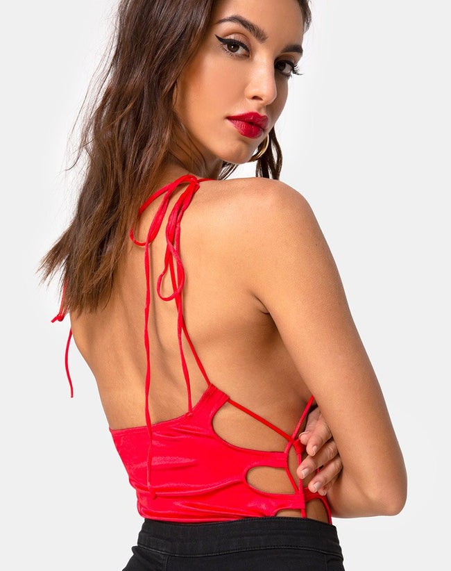 Lati Laced Up Bodice in Satin Red by Motel