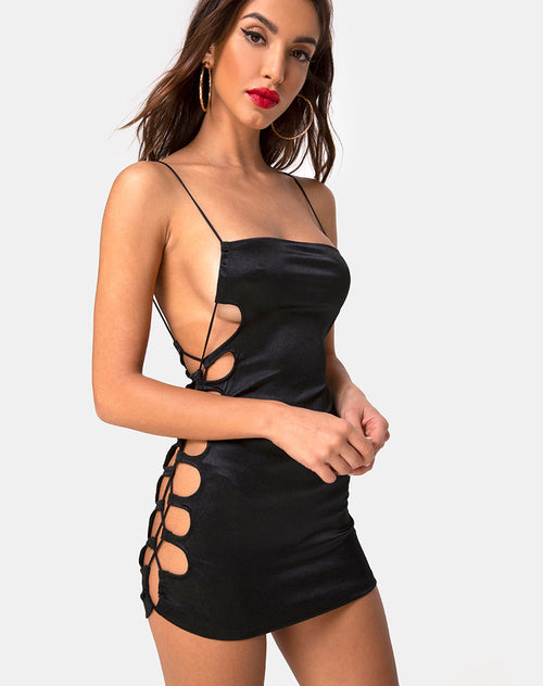 Laticia Mini Dress in Satin Black by Motel