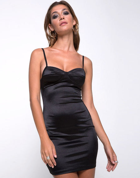 Tor Dress in Velvet Rib Black By Motel