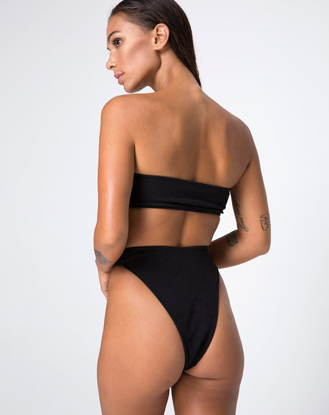 Lin Lin Bikini Bottom in Black with Silver Derlin by Motel