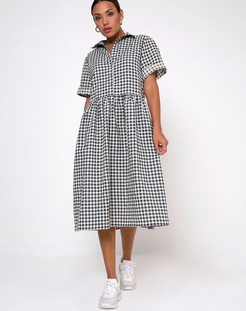 Lista Shirt Dress in Gingham Cream by Motel