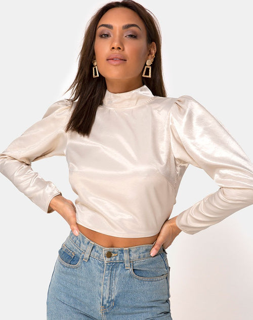 Lona Longlseeve Top in Satin Cream by Motel