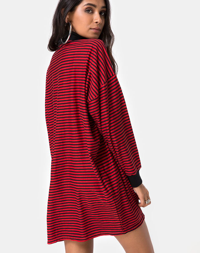 Losha Sweatshirt in Mini Stripe Red and Black by Motel