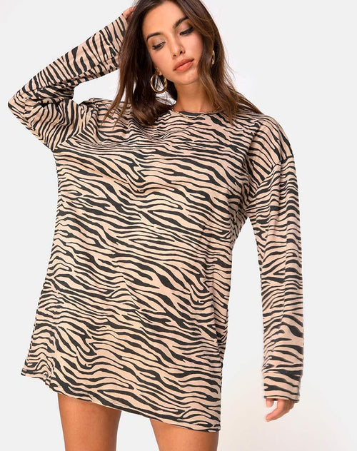 Lotsun Jumper Dress in 90's Zebra Taupe by Motel