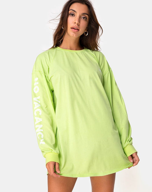 Lotsun Sweatshirt in Motel No Vacany Fluro Green by Motel