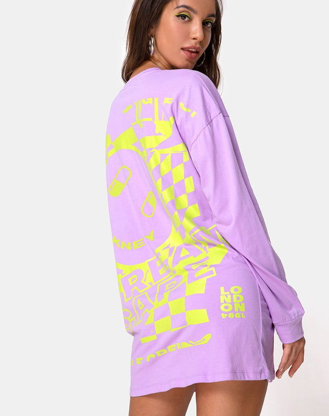Lotsun Sweatshirt in Purple Yellow Dream Scape