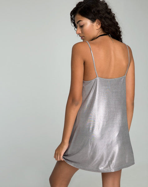 Lustre Slip Dress in Frozen Shimmer Ice by Motel