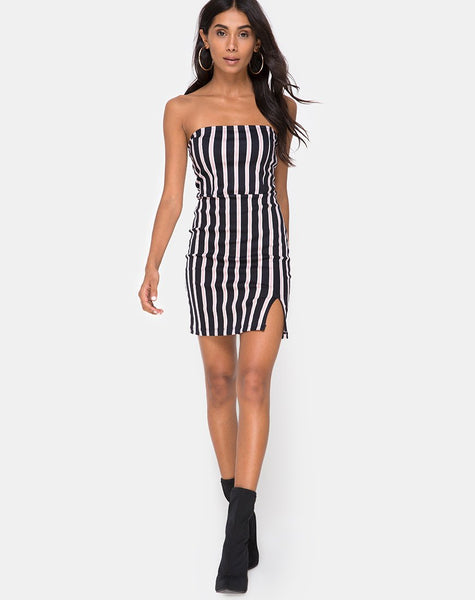 Luveries Dress in Formal Stripe By Motel