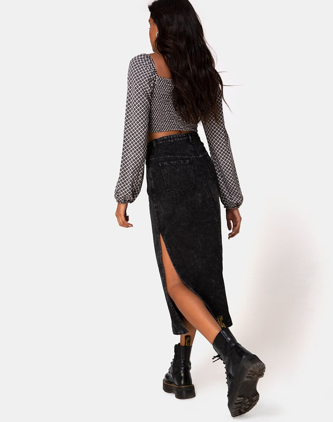 Lyra Midi Skirt in Black Stone Wash by Motel