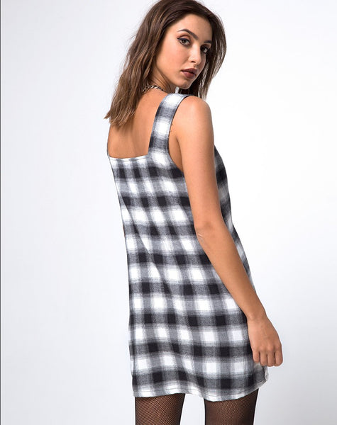 Madison Pinafore Dress in Plaid Black and White by Motel