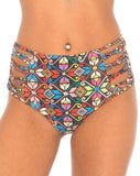 Madeira High Waisted Bikini Bottoms in La Boheme by Motel