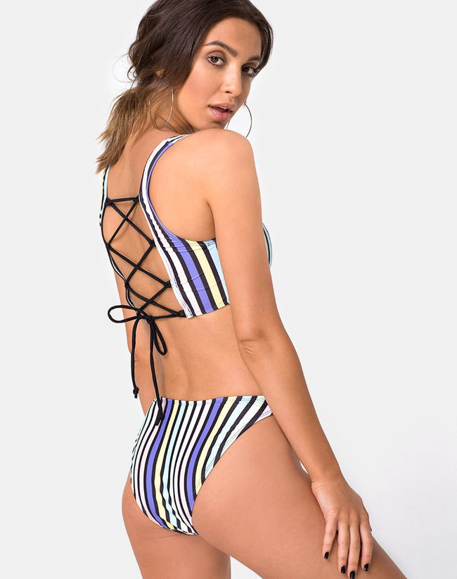 Malee Bikini Top in New Stripe By Motel