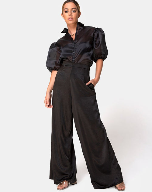 Mara Trouser in Satin Black by Motel
