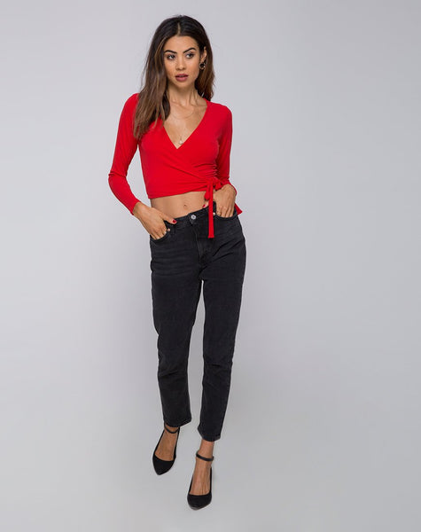 Marche Wrap Top in Red by Motel