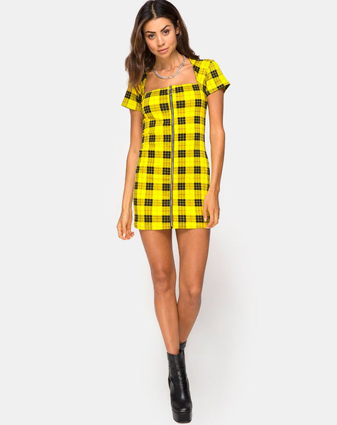 Maretha Dress in Winter Plaid Yellow by Motel