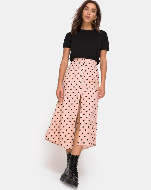 Marni Midi Skirt in New Polka Nude by Motel