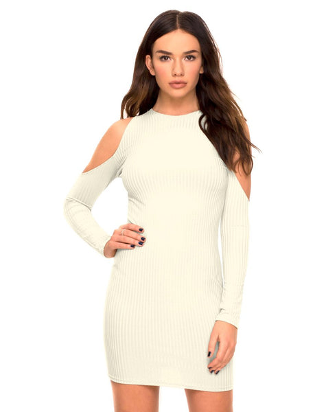 Marsha Cold Shoulder Dress in White Rib by Motel