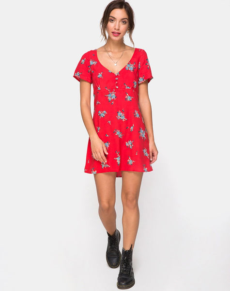 Meca Dress in Soi Rose Red by Motel