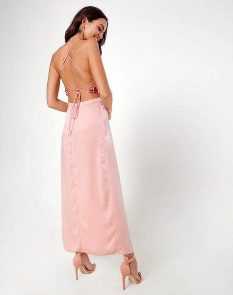 Melanta Maxi Prom Skirt in Satin Blush by Motel