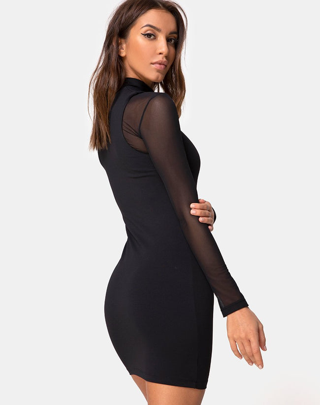 Merna Sleeveless-Bodycon Dress in Ponti Black by Motel