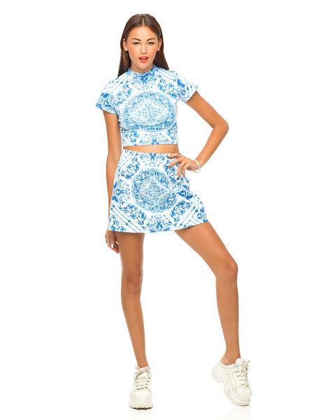 Motel Mindy Turtleneck Crop Top in Blue Venus