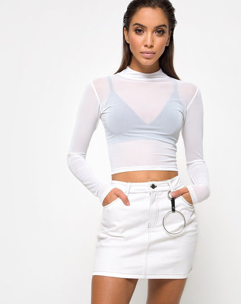 Mini Broomy Skirt in White by Motel