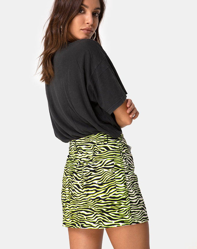 Mini Broomy Skirt in Zebra Fluro Green by Motel
