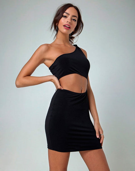 Mireya Cutout Dress in Black by Motel