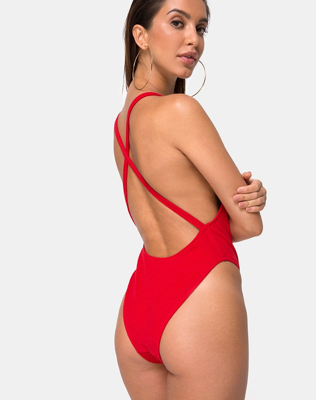 Miro Swimsuit in Red Rib by Motel