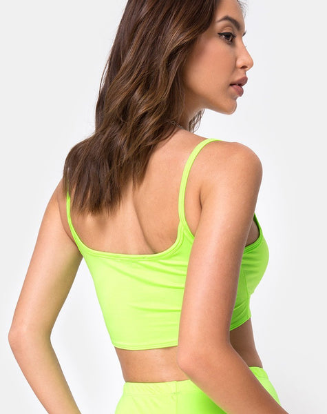 Misho Crop Top in Fluro Green by Motel