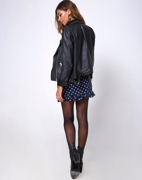 Miza Mini Skirt in Spot and Stripe Navy by Motel
