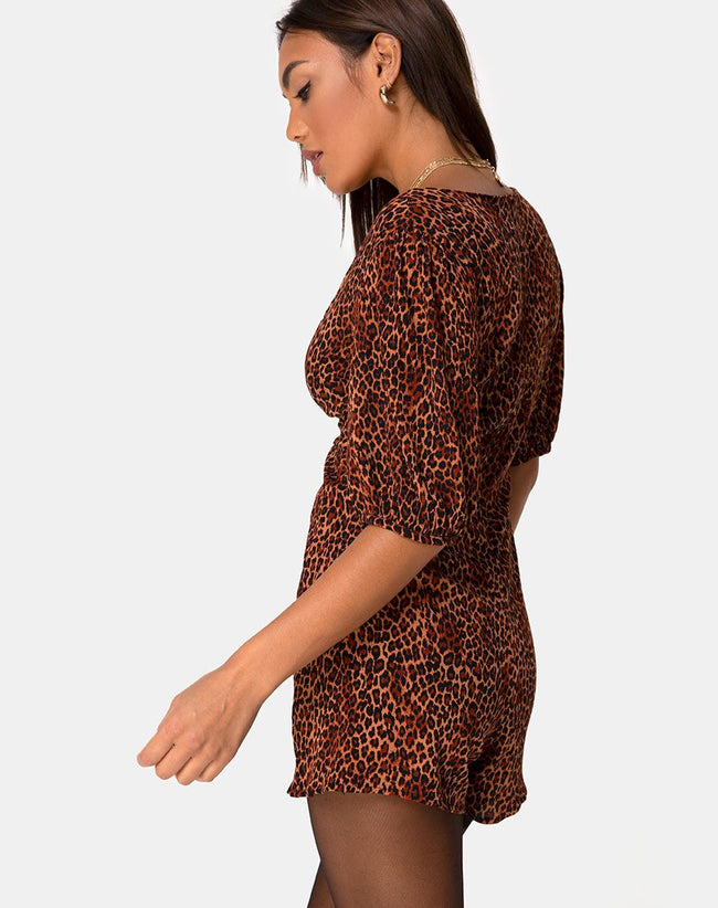 Monali Playsuit in Crinkle Ditsy Leopard Orange by Motel
