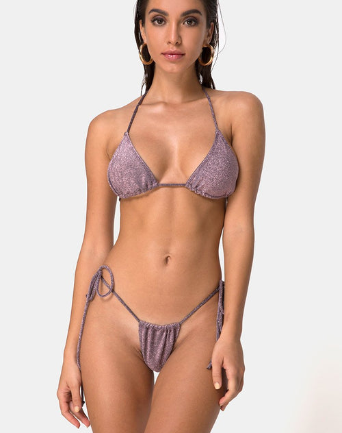 Mone Bikini Top in Gunmetal Glitter by Motel