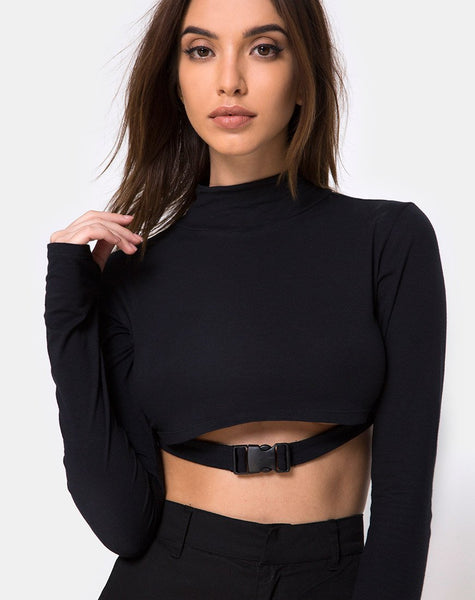 Monec Crop Top in Black Buckle by Motel