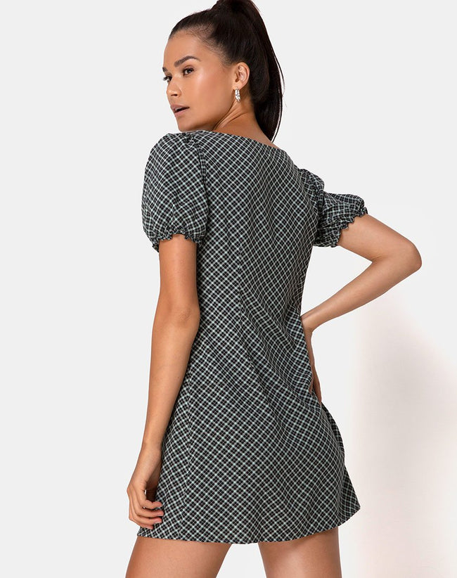 Montero Mini Dress in Check it Out Green by Motel