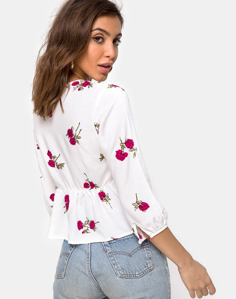 Mosca Plunge Top in Grunge Rose Ivory by Motel