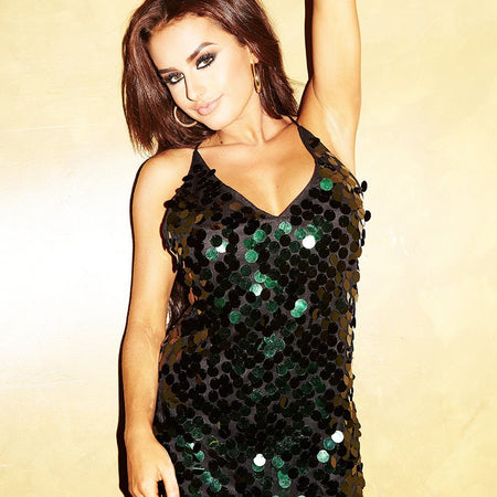 Finn Dress in Disc Sequin Forest Green by Motel