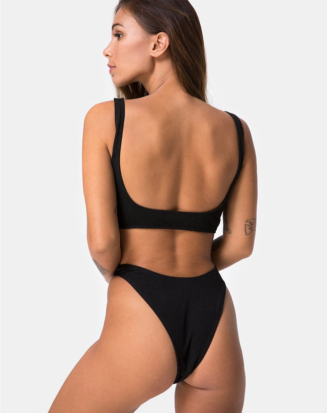 Mozu Bikini Top in Rib Black by Motel