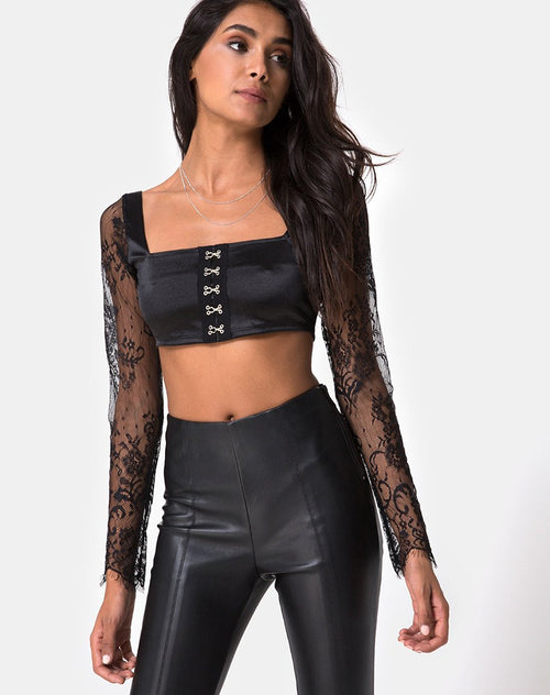 Dulip Crop Top in Black By Motel