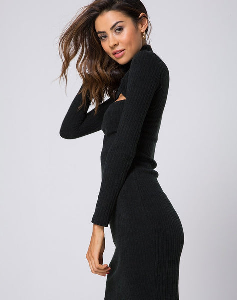 Mya Cutout Dress in Rib Knit Black by Motel