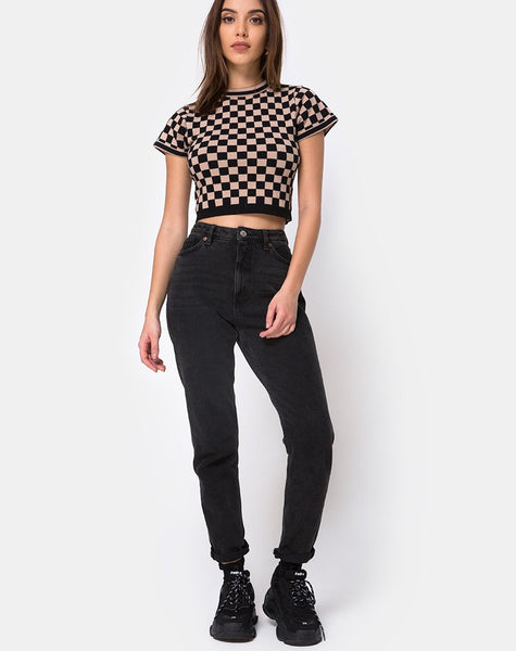 Nelle Crop Top in Checkerboard Tan by Motel