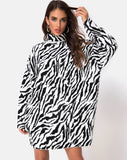 Neivie Jumper Dress in Zebra B/W by Motel