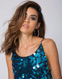 Frankie Slip Dress in Square Sequin Teal by Motel