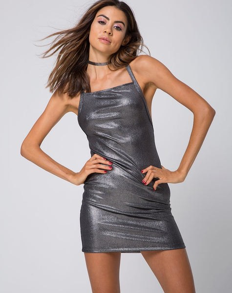 Nia Dress in Rib Shimmer Metallic by Motel