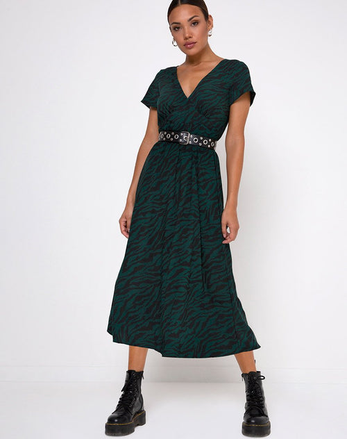 Nira Midi Dress in 90's Zebra Forest Green by Motel