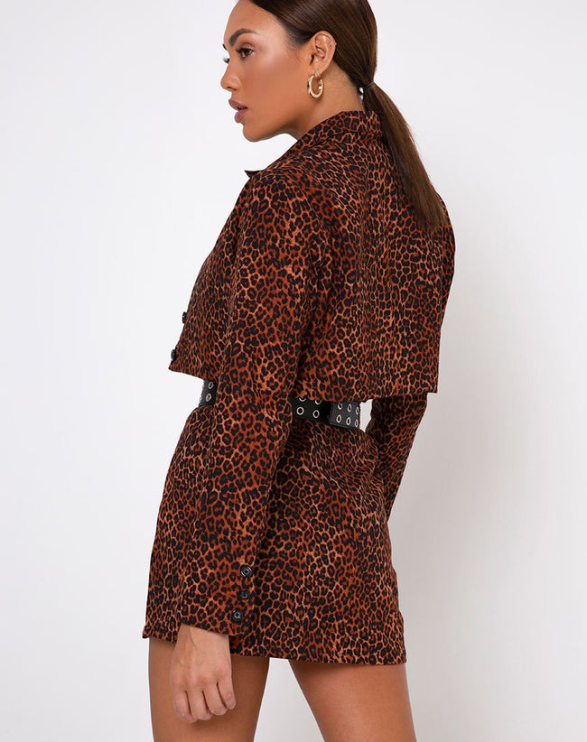 Sheny Mini Skirt in Ditsy Leopard Orange by Motel