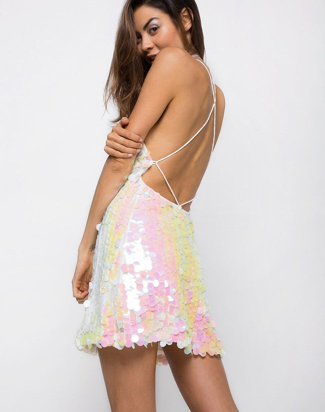 Nylah Slip Dress in Fishcale Disc Sequin Oyster Shell by Motel