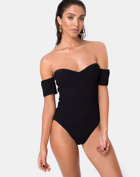 Bo Bandeau Bikini Bottom in Black by Motel