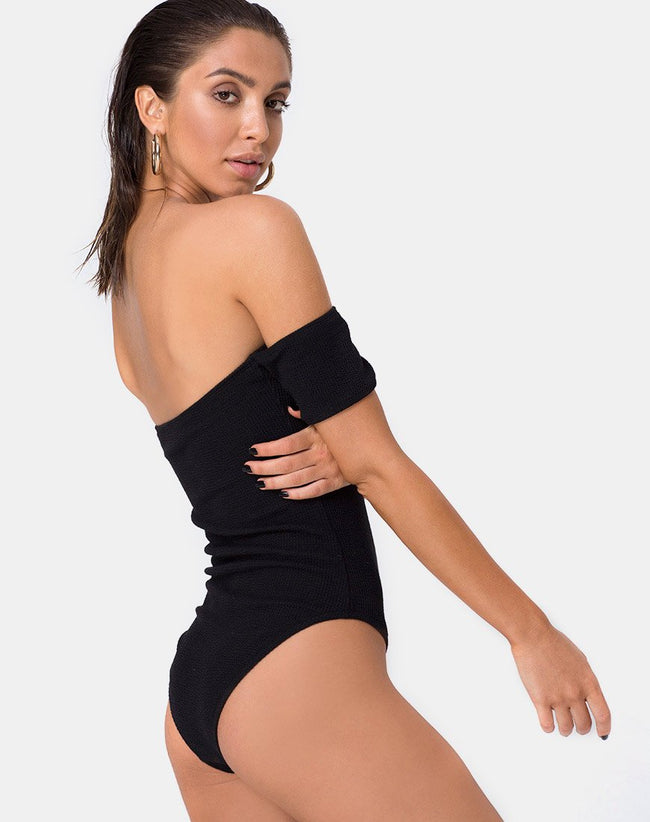Ona Swimsuit in Crinkle Rib Black by Motel