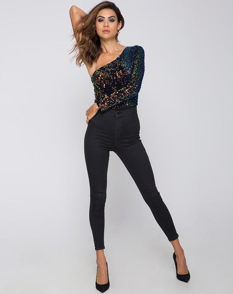 Tamera Bodice in Prism Shine Sequin by Motel